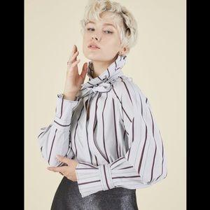 ODEEH High Fashion Tie Collar Mock Neck Blouse
